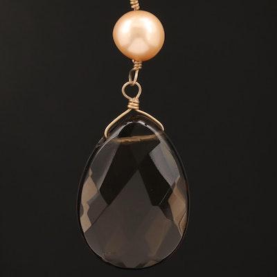 14K Pearl and Smoky Quartz Necklace