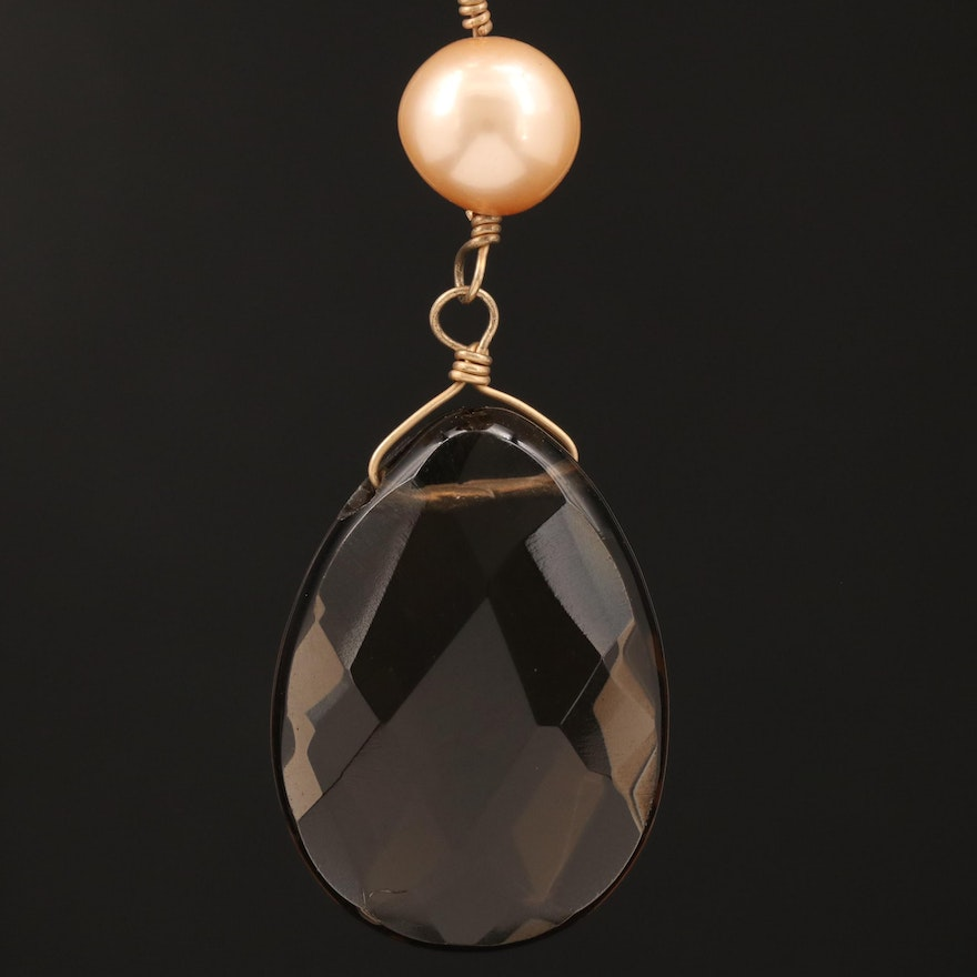 14K Pearl and Smoky Quartz Necklace