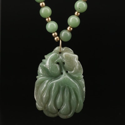 Carved and Beaded Aventurine Pendant Necklace with 14K Clasp and Beads