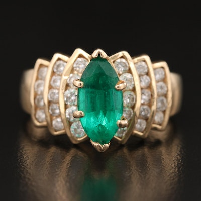 14K Marquise Emerald and 1.01 CTW Diamond Ring