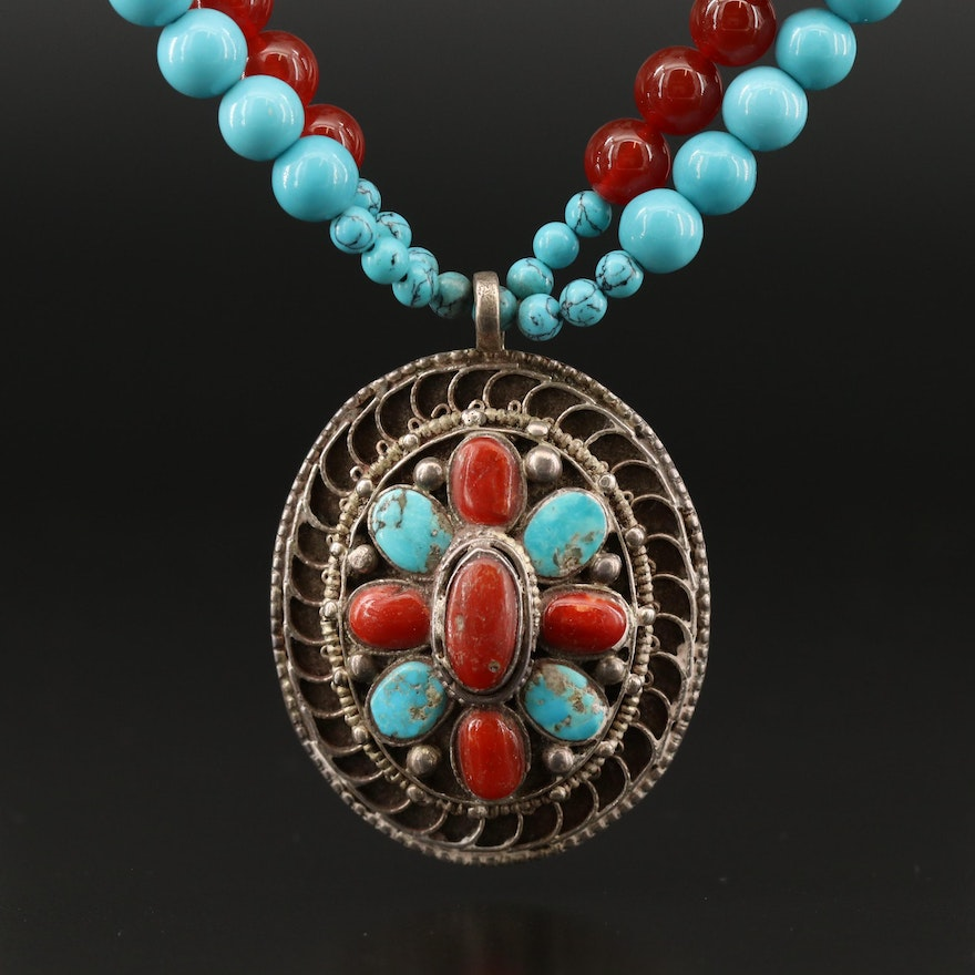 Vintage Sterling Turquoise and Coral Pendant on Double Strand Bead Necklace