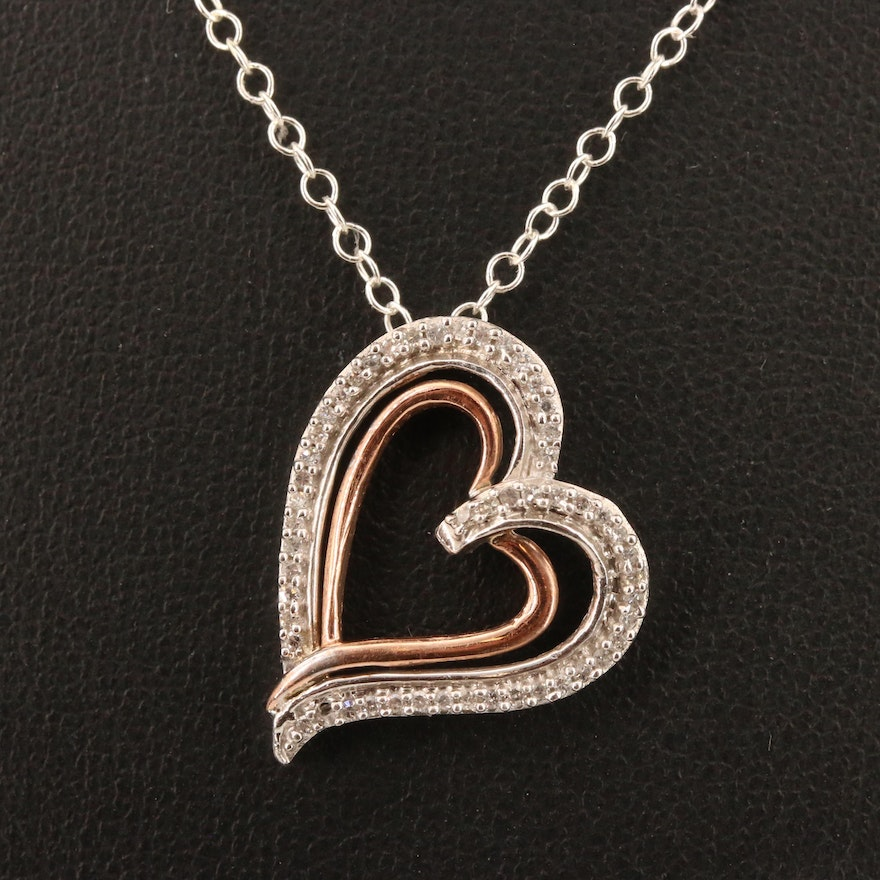 Sterling Silver Diamond Heart Pendant Necklace with 10K Accent