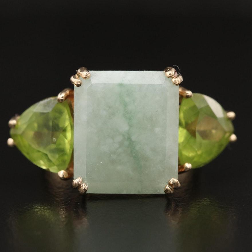 14K Jadeite and Peridot Ring