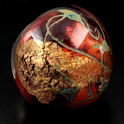 Jean Michel Operto Art Glass Orb Paperweight