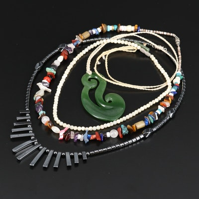 Multi-Gemstone Beaded Necklaces Including a Nephrite Pendant Necklace