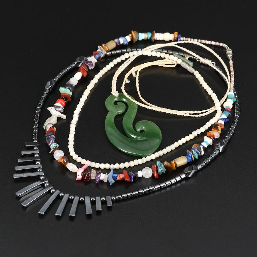 Multi-Gemstone Beaded Necklaces Including a Nephrite Pendant Necklace