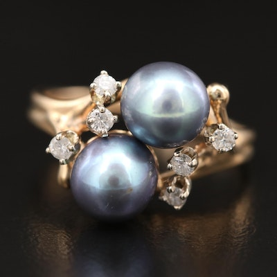 14K Double Pearl Ring with Diamond Accents