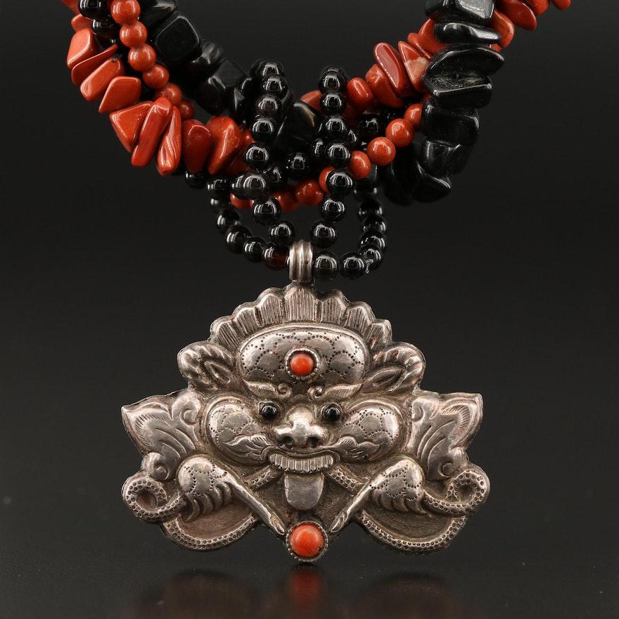 Vintage Tibetan Sterling Silver Gemstone Mara Pendant with Multi-Strand Necklace