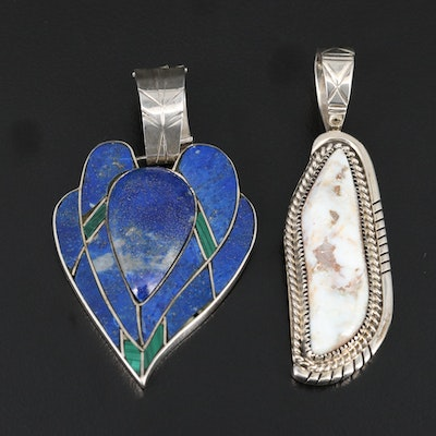 Sterling Silver Pendants Featuring Lapis Lazuli, Malachite and Agate
