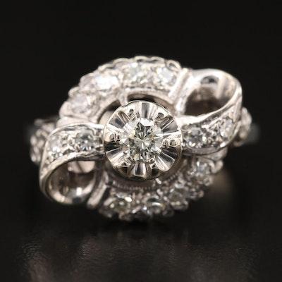 Circa 1950 14K Diamond Ring with Bow Motif