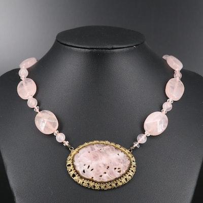 Circa 1930 Rose Quartz and Glass Necklace