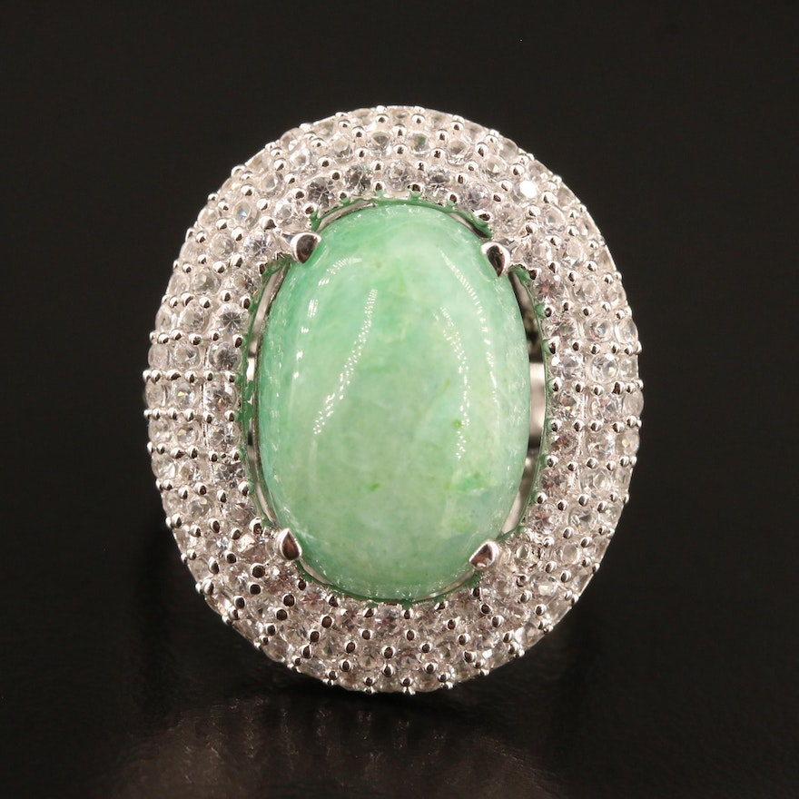 Sterling Beryl and Pavé White Sapphire Halo Ring