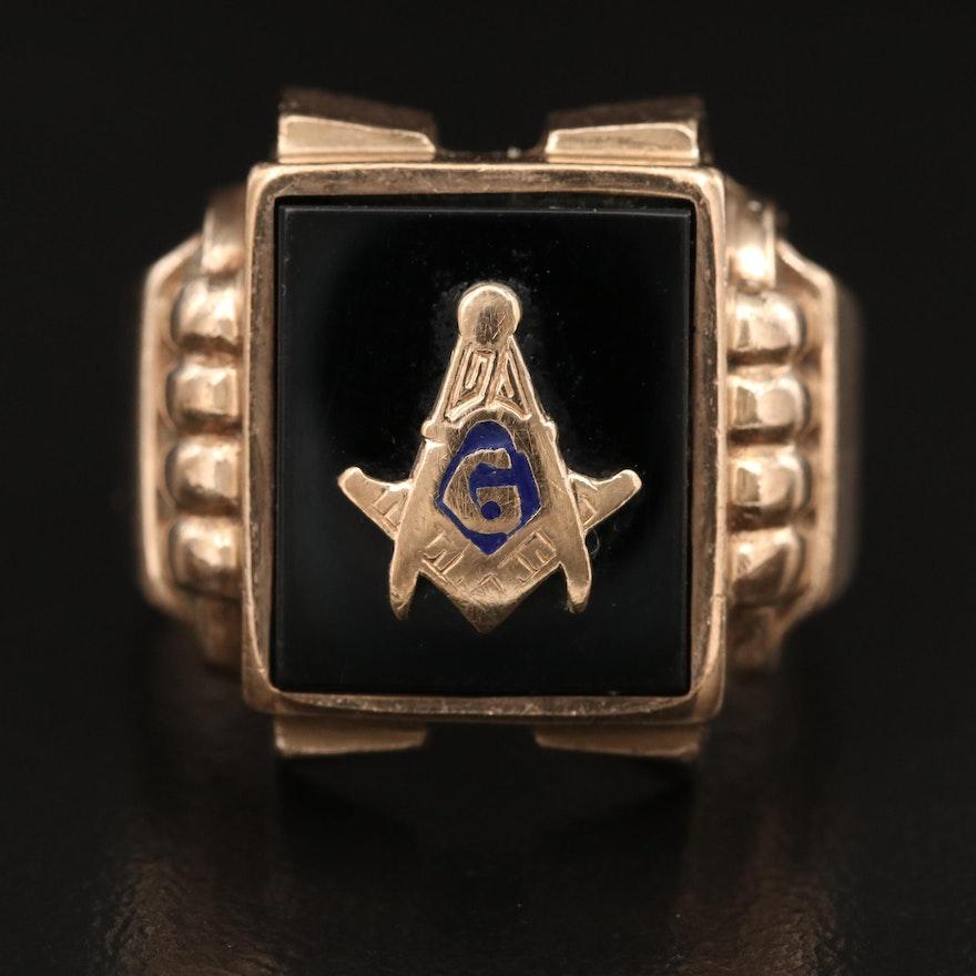 Retro 10K Black Onyx and Enamel Masonic Ring
