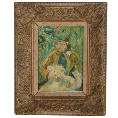 """Oil Painting after Berthe Morisot """"Young Girl with a Dog,"""" Early 20th Century"""