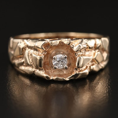 Vintage 10K Diamond Nugget Style Ring