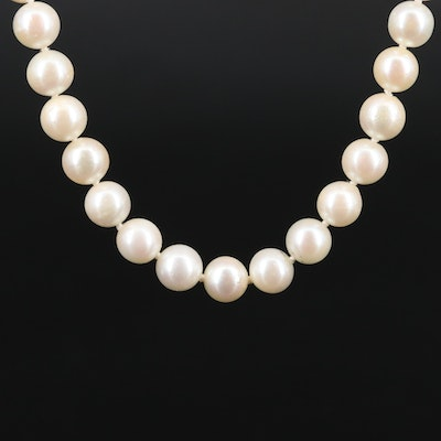 Individually Knotted Pearl Necklace with 835 Silver Clasp