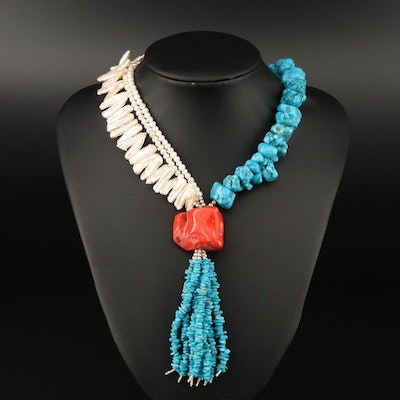 Sterling Silver Pearl, Turquoise and Coral Tassel Necklace