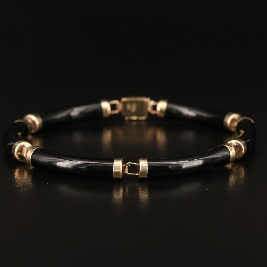 14K Black Onyx Bar Link Bracelet