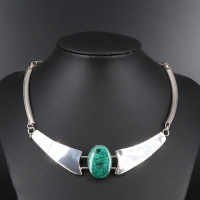 Sterling Silver Azurmalachite Collar Necklace