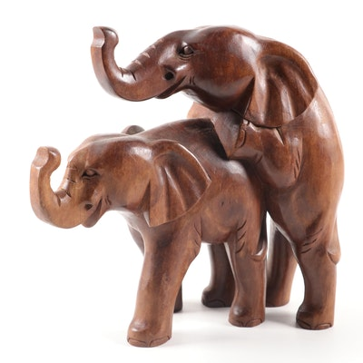 Hand-Carved Wood Mating Elephants Figurine