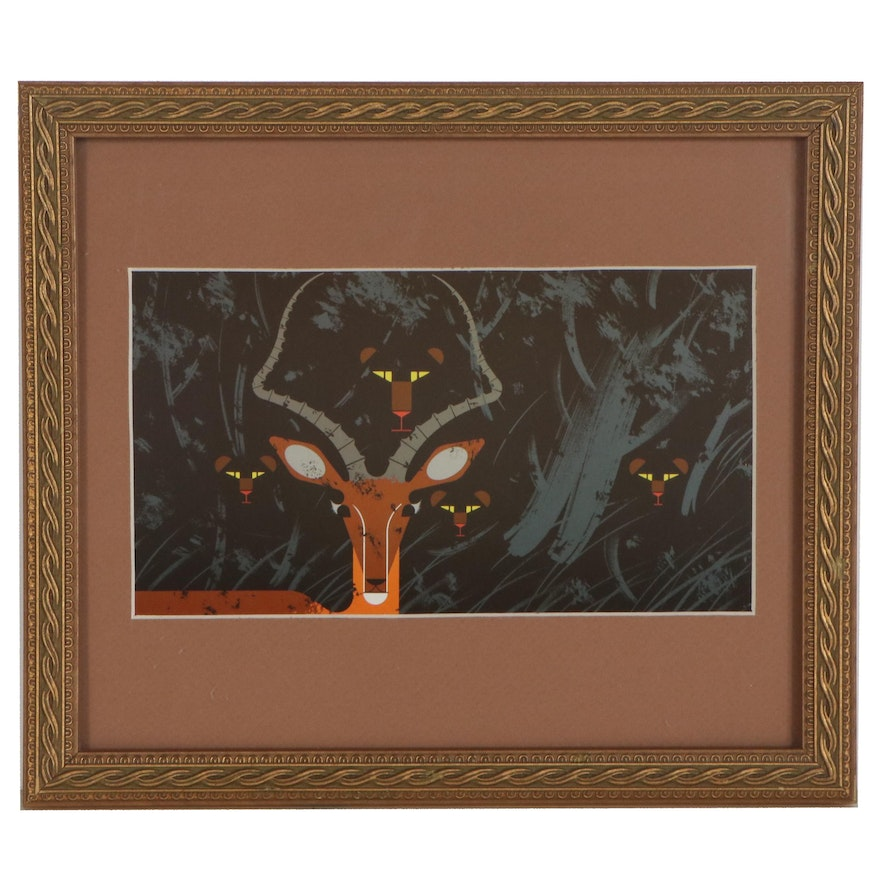 """Offset Lithograph after Charley Harper """"Hungry Eyes"""""""