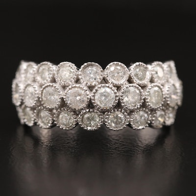 10K Diamond Milgrain Triple Row Ring