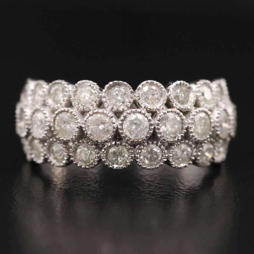 10K Diamond Milgrain Triple Row Ring