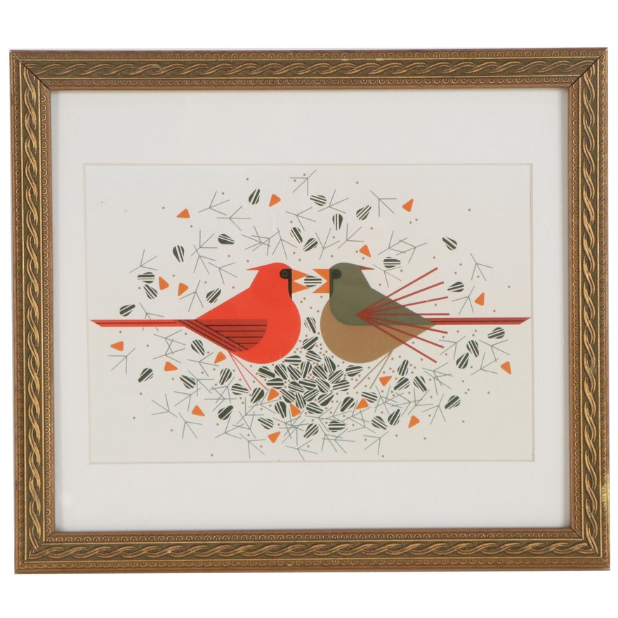 "Offset Lithograph after Charley Harper ""Cardinal Courtship"""