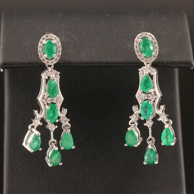 Sterling Emerald and White Zircon Chandelier Earrings