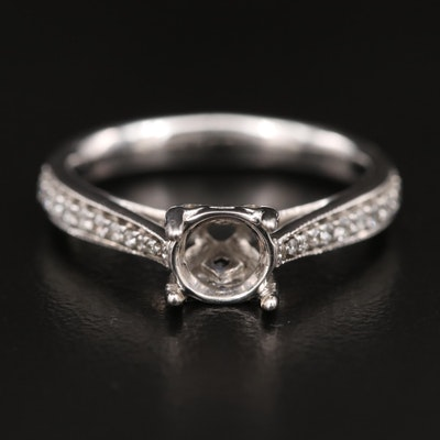14K Diamond and Sapphire Semi-Mount Ring