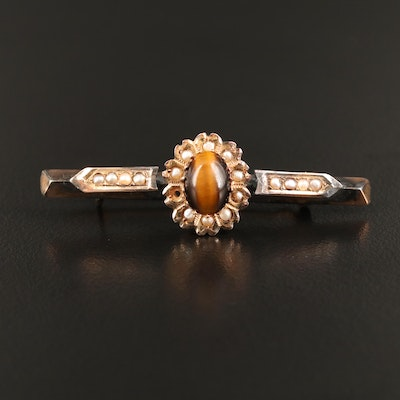 Victorian 14K Tiger's Eye and Seed Pearl Bar Brooch