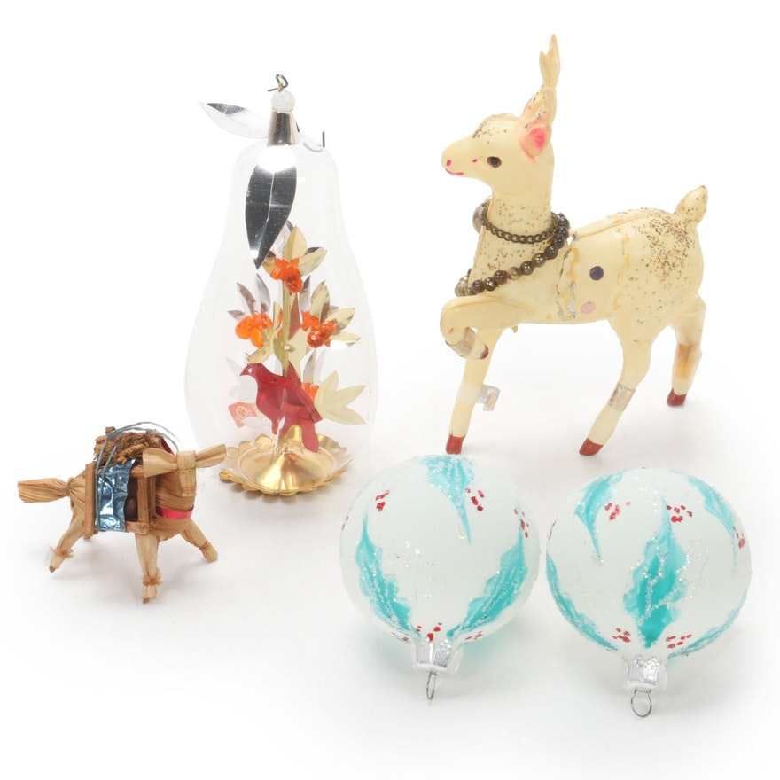 German and Other Glass, Paper and Plastic Christmas Ornaments, 1960s