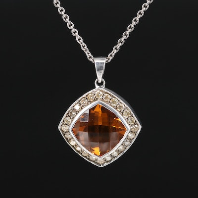 Malakan Sterling Silver Citrine and Diamond Halo Pendant Necklace