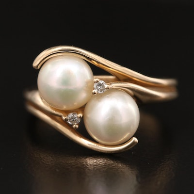 14K Double Pearl and Diamond Ring