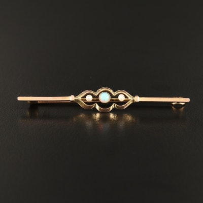 Art Nouveau 9K Opal and Cultured Pearl Brooch
