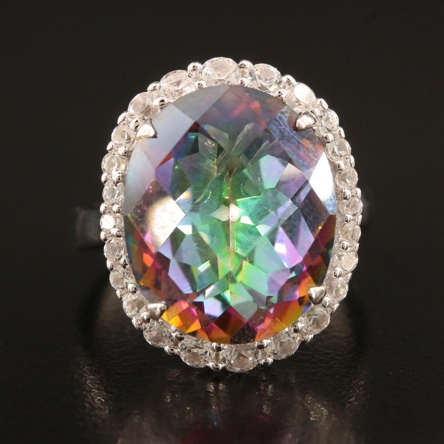 Sterling Mystic Quartz and White Sapphire Halo Ring