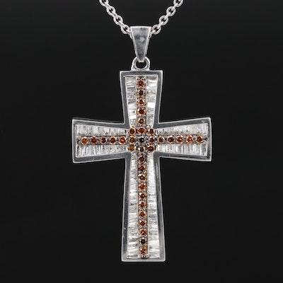 Malakan Sterling Silver 1.34 CTW Diamond Cross Pendant Necklace