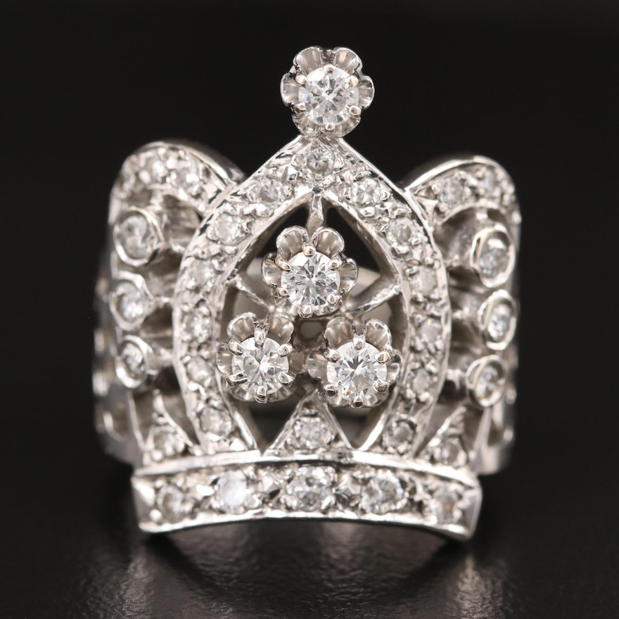 14K Diamond Crown Ring with Buttercup Settings