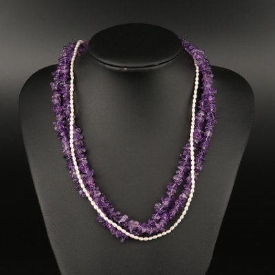 Amethyst and Pearl Torsade Necklace with Sterling Silver Clasp