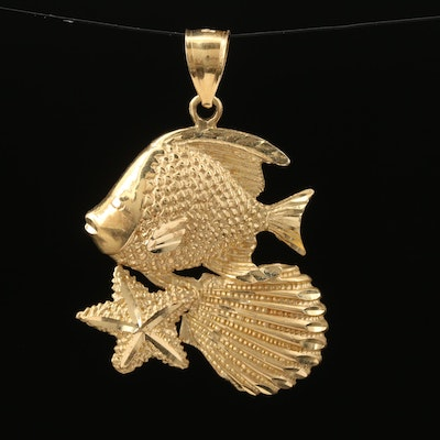 14K Fish and Shell Pendant
