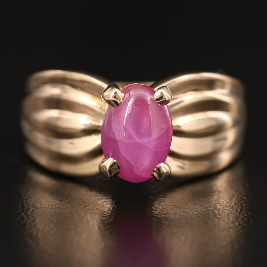 14K 2.62 CT Star Ruby Ring with Fluted Shoulders