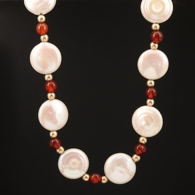 14K Pearl and Carnelian Beaded Necklace