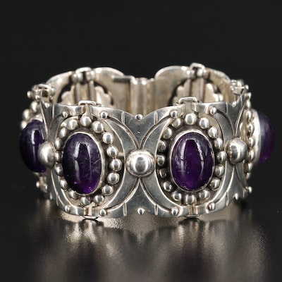 Mexican Sterling Amethyst Panel Bracelet