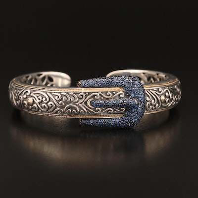 Sterling Sapphire Buckle Motif Cuff with 18K Accents