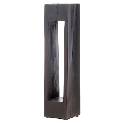 Hewn Ebonized Wood Pedestal Stand
