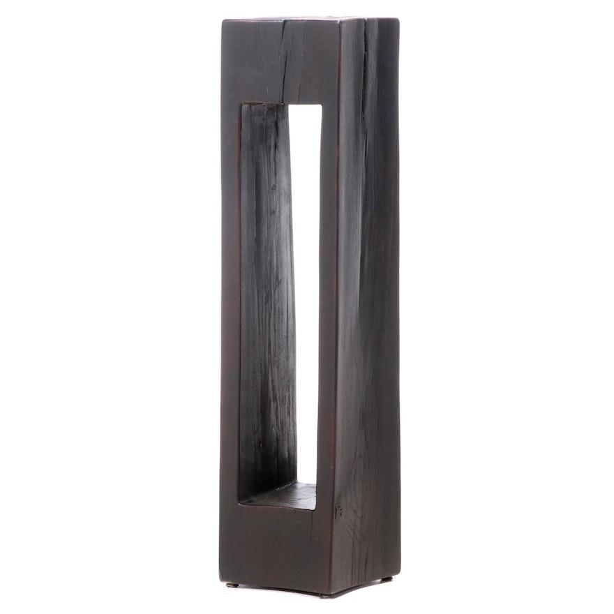 Hewn Ebonized Wood Pedestal Stand