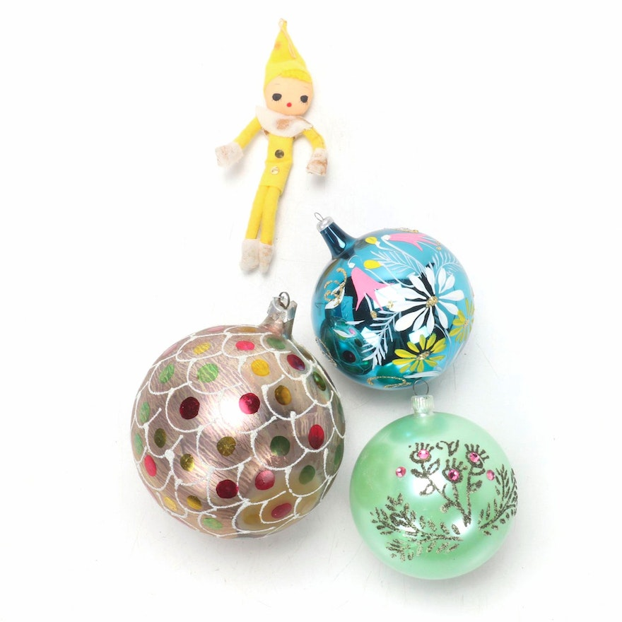 Blown Glass and Other Christmas Ornaments, 1960s