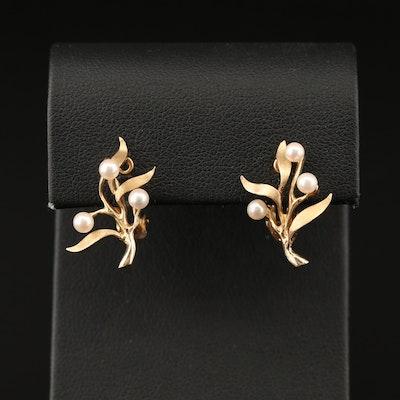 14K Pearl Foliate Clip Earrings