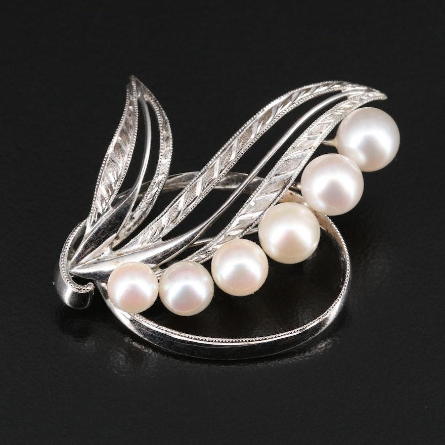 Vintage Mikimoto Sterling Silver Pearl Foliate Brooch