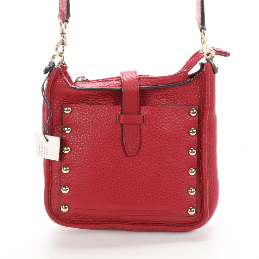 Rebecca Minkoff Mini Feed Bag in Red Pebble Grained Leather